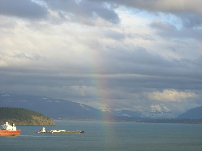 rainbow over Fidalgo Bay